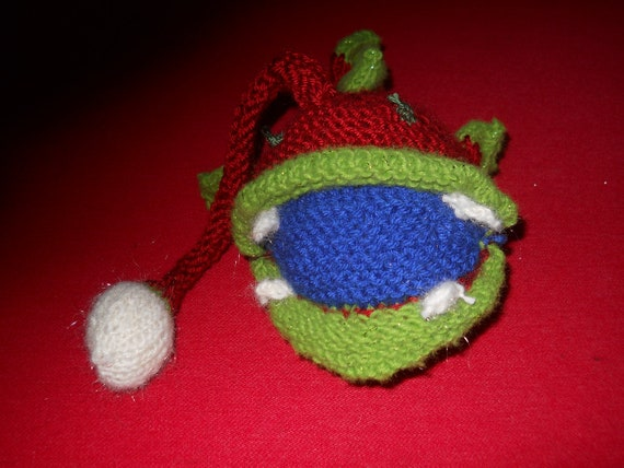 Anglerfish Red, Green, and Blue Hand Knit Stuffed Animal