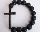 His/Her All black side cross bracelets with alloy black pave beads.