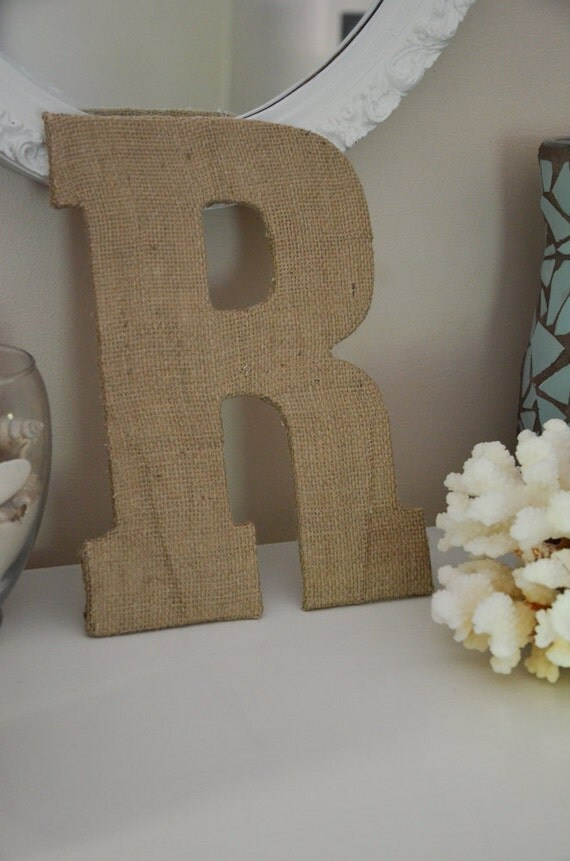 Burlap Letter - Rustic Monogram Decoration for Weddings or the Perfect Wedding or Shower Gift