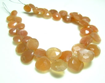 """AA-Peach Moonstone Faceted Heart Briolette- 7"""" Strand -Stones measure- 7-10mm"""