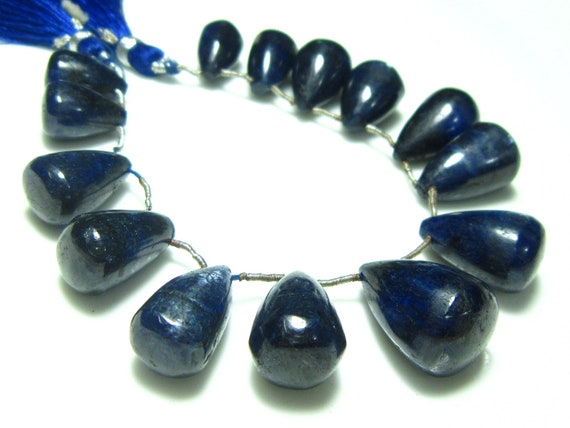"Opaque Kyanite Smooth Big Tear Drops- 7"" Strand -Stones measure- 14x9-18x12mm"