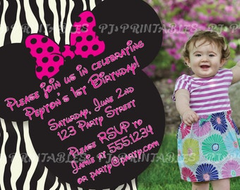 Minnie Mouse Zebra Birthday Invitation with picture- Custom Digital File