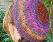 Crochet rainbow beret 100% wool