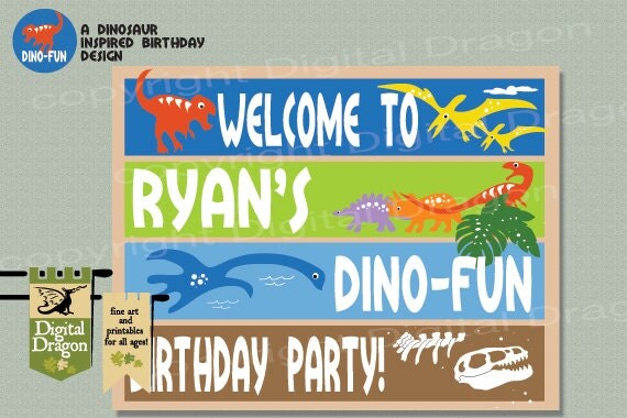 Dino-Fun Printable Customized Birthday Party Welcome Sign