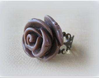 Large Mocha Rose on Antique Brass Filigree Ring - Adjustable - Flower Jewelry