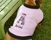 Baby Pink & Black Polka Dots Personalized Embroidered Girl Dog TShirt
