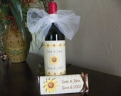 wedding wine bottle labels Sunflower