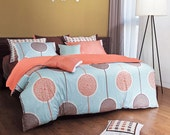 820TC Sky Blue & Peach Circle Pattern Queen Duvet Cover Set