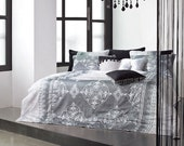1100TC Luxurious Sateen Gray & White Damask King Duvet Cover Set