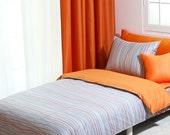 820TC Modern Gray & Orange Stripe Queen Duvet Cover Set