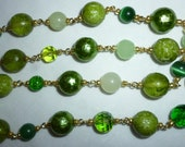 Shades of green round glass, jade, and aventurine bead necklace