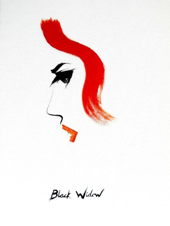 SALE 20% OFF - Black Widow Avengers Minimalist Painting 14 x 18