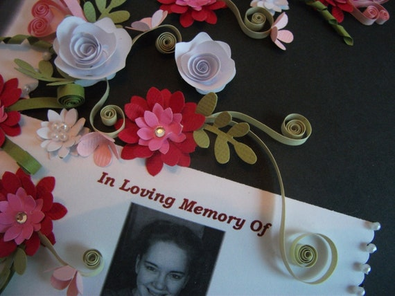 Quilled Memorial Card Framed Keepsake