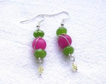 Genuine Jade and Swarovski Crystal Earrings
