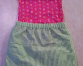 Baby Girl Pink Flower Onsie and Green Skirt set Size: 12 Months
