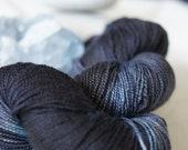 Hand Dyed Superwash Merino . Fingering . 440 yards . 100 g . Black . Blue . Dark Shadows