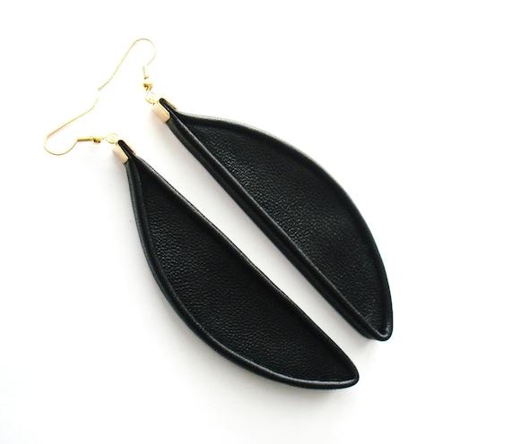 3D Leather Drop Earrings, Statement Earrings, Big Earrings, Dangle Earrings, Gift for Her