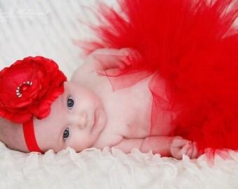 Red Silk Flower Headband- valentines - Newborn Photo Prop - Baby Girl Headband - Toddler Headband - Adult Headband -