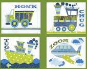 Transportation Boys Nursery Art Prints, Childrens Room Decor,  Vehicles Wall Art 4 - 8 x 10 collage prints Blue & Green