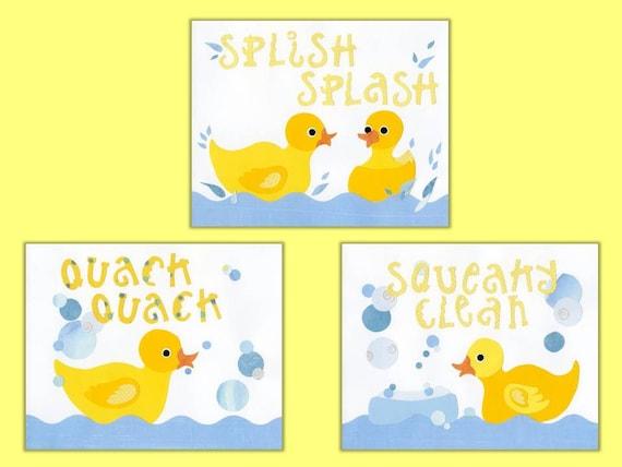Rubber Duck Kids Bath Decor, Kids Duck Wall Art, Bath Decor Ducks, 3 - 8 x 10 collage prints Rub-a-Dub Rubber Ducky Series