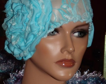 Flapper Hat Cloche Lace  1920 style Personalized  Headdress Millinery ArtWork Floral