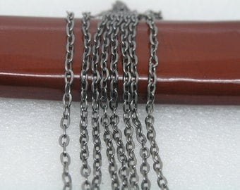 32ft of 3x4mm Flat Link,Black Gunmetal Plated Iron Cross Flat Cable Chain--Unsoldered