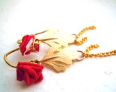 20% sale Red Batik Fabric Rose Earrings,14k Gold Leaf Pendant and Dangling Chains, Summer Jewelry