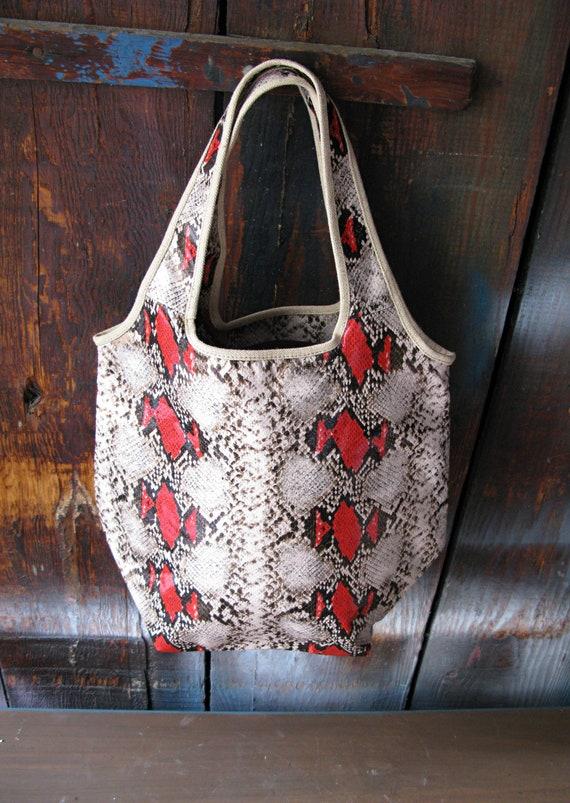 Vintage Faux Red Snakeskin Tote Bag Bucket Purse
