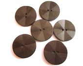 6 Vintage 1940s Large Faceted Brown Wooden Buttons