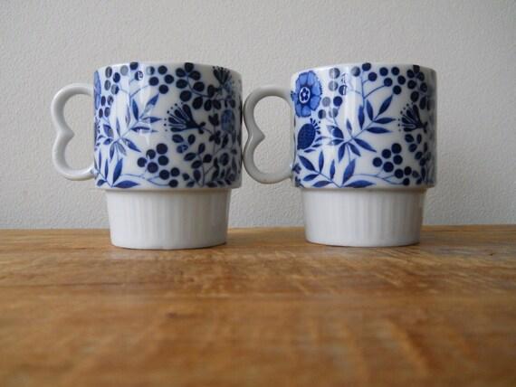 Blue Floral Mugs