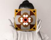 Decorative tile Four plums. Unusual and alternative wall decor. Ornamental art block 20x20cm (8x8 inches). Orange grey brown black