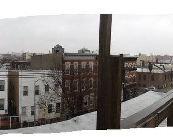 Bushwick, Brooklyn, NYC Rooftop Panoramic Cityscape No. 2 (Digital Print) (Large-Scale)