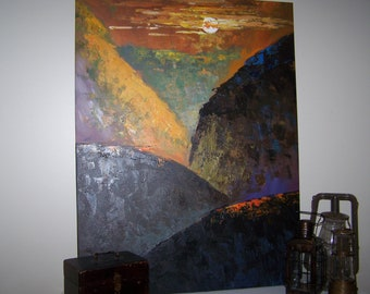 Very Large Canvas Painting Mountains Landscape Sunset