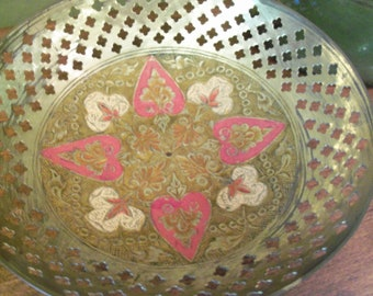 Beautiful Vintage Brass Decorative Bowl from India