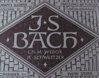 Organ Book Complete Organ Works Vintage 1940 German Pianist Composer Johann Sebastian Bach Musical Book Piano Decoupage Sheet Music Book