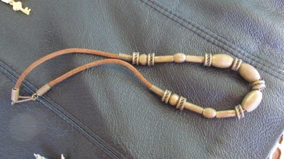 1970s Industrial Hippy Solid Brass and Gear Necklace on Suede Leather Cord Unisex for Man or Woman Steam punk