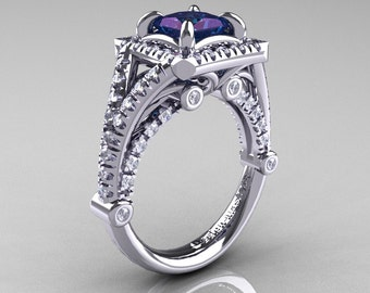 Modern Art Nouveau 14K White Gold 1.23 Carat Princess Alexandrite Diamond Engagement Ring, Wedding Ring R336-14KWGDAL