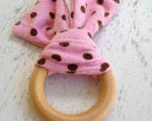 Pink and Brown Polka Dots Floppy Ear Teether