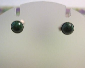 Vintage Sterling Silver Pierced Earrings with Green Stone
