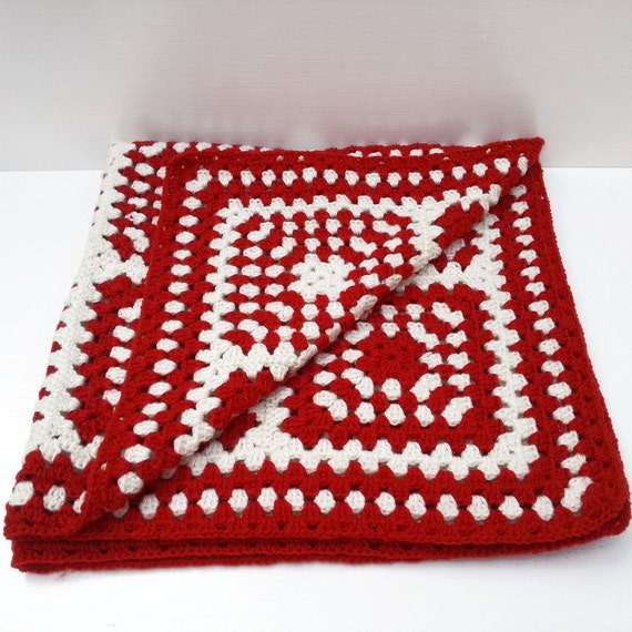 Vintage Crochet Wool Afgan Rug  - Red White Retro Blanket - Granny Chic