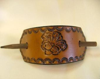 Handmade Leather Ponytail Barrette No. BT 1037