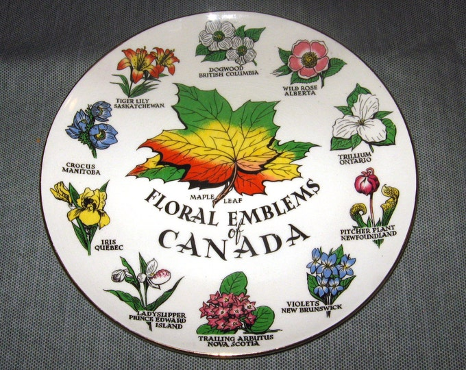 """Royal Winton Floral Emblems of Canada 7.75"""" Plate, ca. 1960s-1970s"""