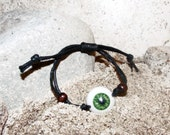 Realistic Eyeball Wristband Bracelet Jewelry- Green - For Men and Women- Hand Crafted