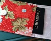 Passport/Etc Pouch - Red, Green & Aqua Floral (Moda Bliss OOP)