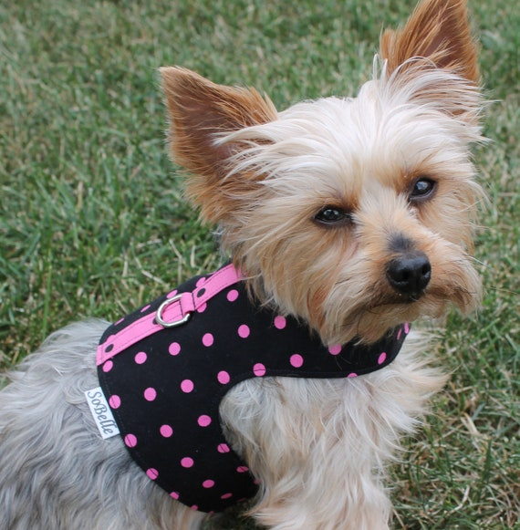 SMALL Pink on Black Polka Dot Dog Harness