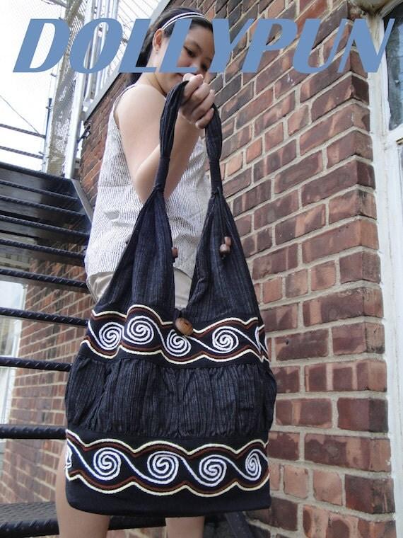 Water Black Hand Woven Cotton Hippie Boho Hobo Shoulder Messenger Bag WW231 (RESERVED)