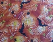 "Halloween fabric 3 yards 6 "" long 22"" wide Halloween orange spiderwebs spider bat bats pumpkins"