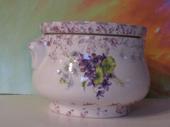 Large white with purple accent purple violets white daisies African Violet planter, pot