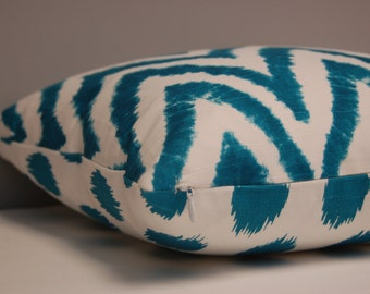 16 inch Teal Ikat Chevron and Dot Throw Pillow Cover, Reversible Decorative Pillow, Bright Modern Pillow