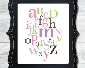 Alphabet Nursery Digital Art Print - 5 color options available